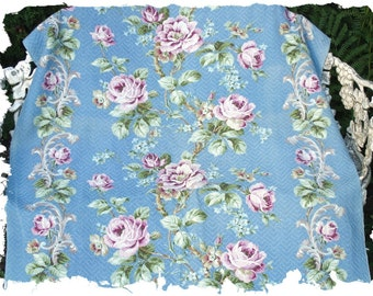 1930s 40s Violet Lavender Cabbage Roses Vintage Floral Nubby Sky Blue Barkcloth Fabric