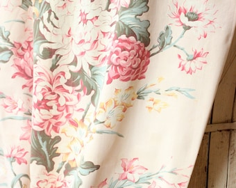 1930s Pink and Yellow Spring Floral Faded Pink Vintage Fabric Drapery Panel