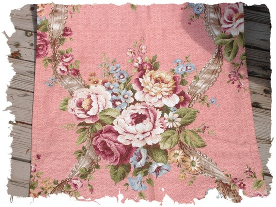 Antique French Ruban Rose Vintage Barkcloth Fabric Drape