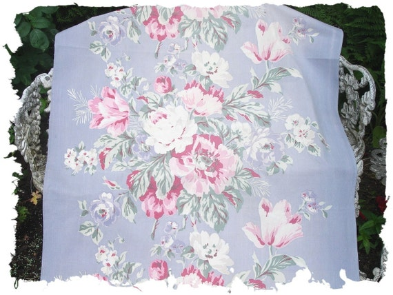 1930s Pink Cabbage Rose Muted Violet Periwinkle Blue Vintage Canvas Broadcloth Fabric
