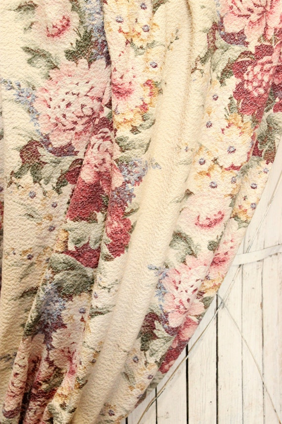 Peony cabbage roses floral nubby barkcloth fabric drape curtain panel
