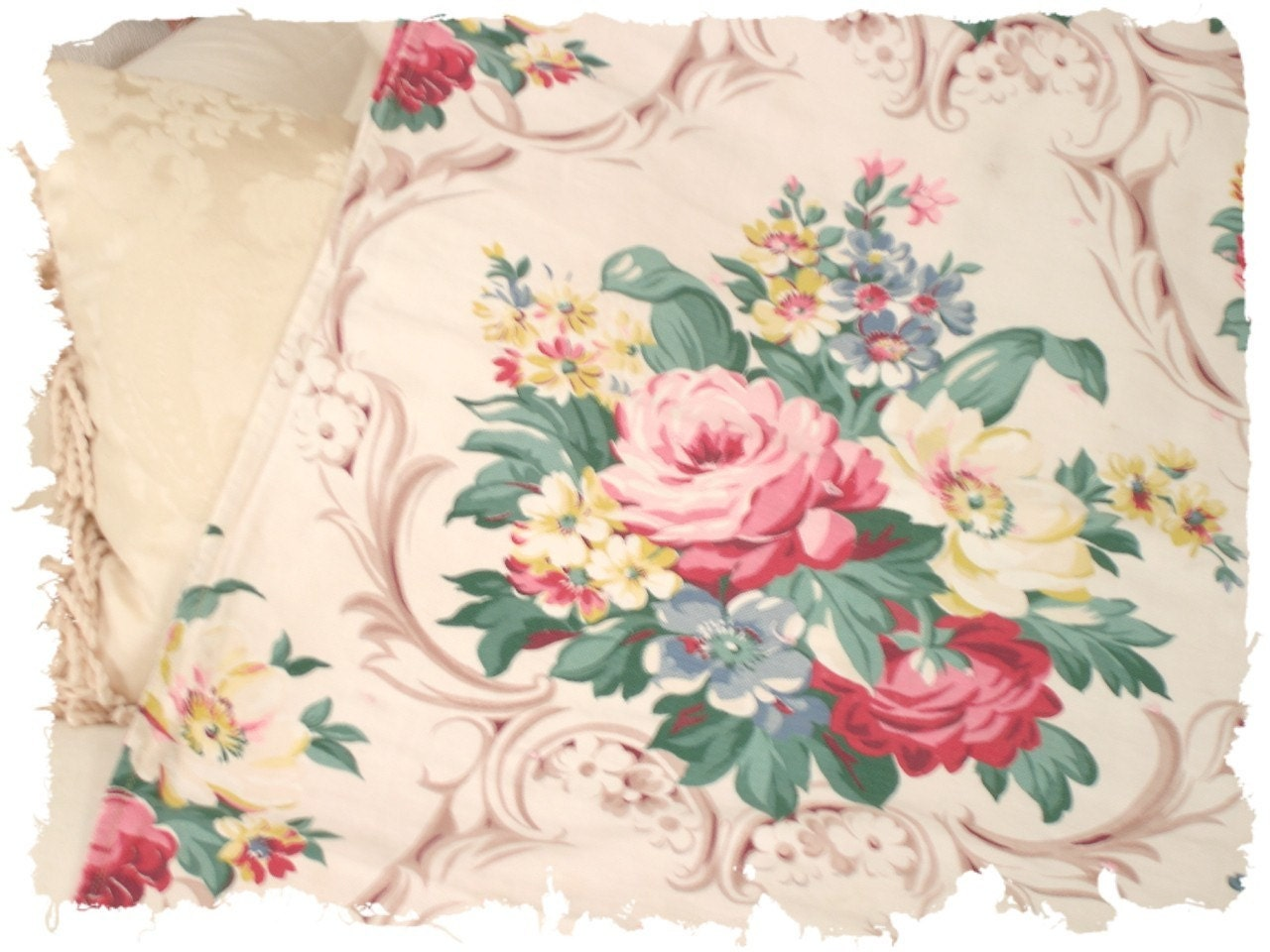 Vintage 1930s Waverly Pink Amp Yellow Cabbage Rose Floral