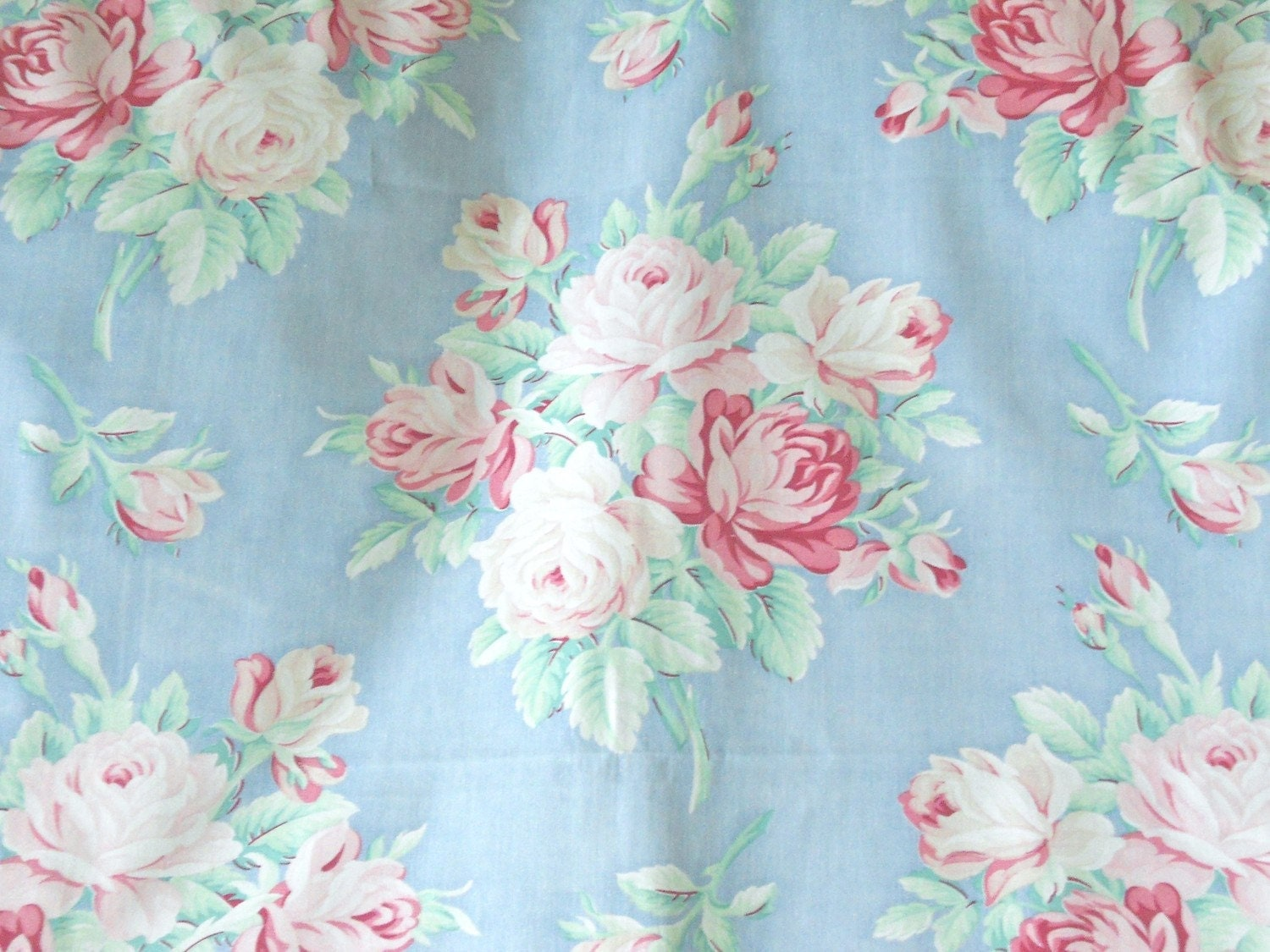 1940s Muted Pink English Cabbage Rose Vintage Fabric Pale Sky