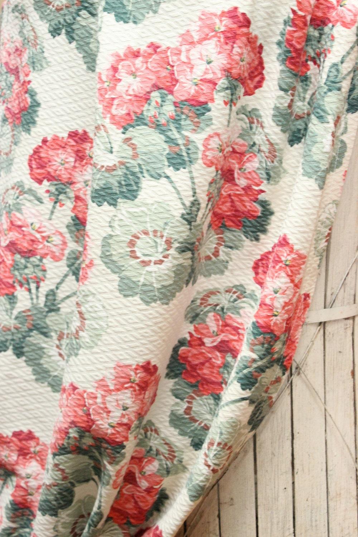 1930s Floral Red Geranium Barkcloth Fabric Drapery Curtain