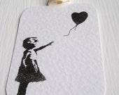 5 Banksy Balloon girl tags. loveheart balloon, ivory satin ribbon