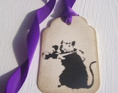 5 vintage effect tags, with Banksy style photographer rat, purple ribbon