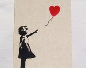 5 Banksy style Notecards/postcards, assortment of images available