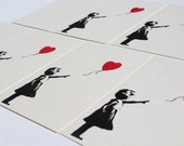 Banksy style heart Balloon girl 5 cards. ivory cards with black and red ink. wedding, love, engagement, rsvp etc