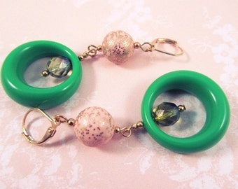 At First Blush Dangle Earrings -Green Lucite Hoops & Vintage Beads