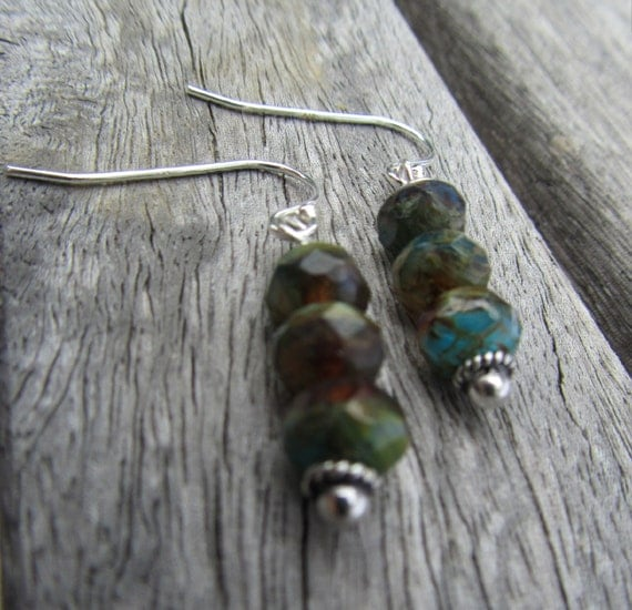 Milky Way IV Earrings -Czech Glass Beads and Sterling Silver