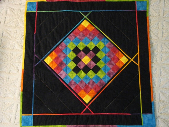 Art Quilt in Colorful Batik Squares