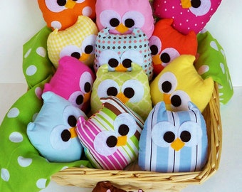 5 adorable colorful, or you can choose any color plush mini owls