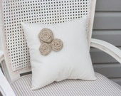 Muslin Pillow with Three Burlap Rosettes