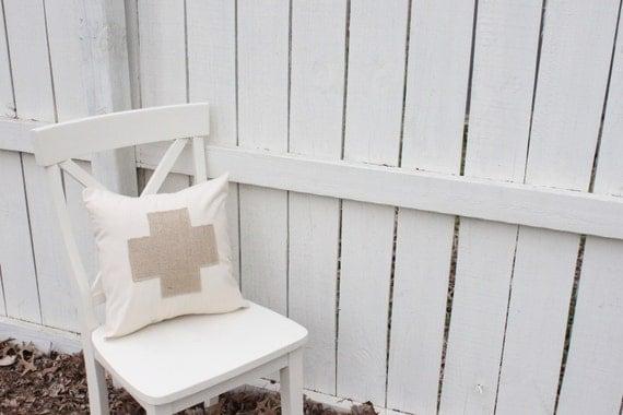 Burlap Swiss Cross on muslin pillow