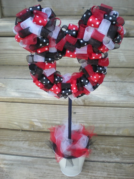 Items similar to ribbon topiary mickey mouse minnie