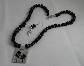 Hunger Games Inspired Black Beads with Forest Enameled Pendant Set (REDUCED)