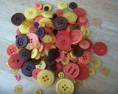 100 Assorted Orange, Yellow and Brown  Buttons Scrapbooking Sewing Crafts Harvest
