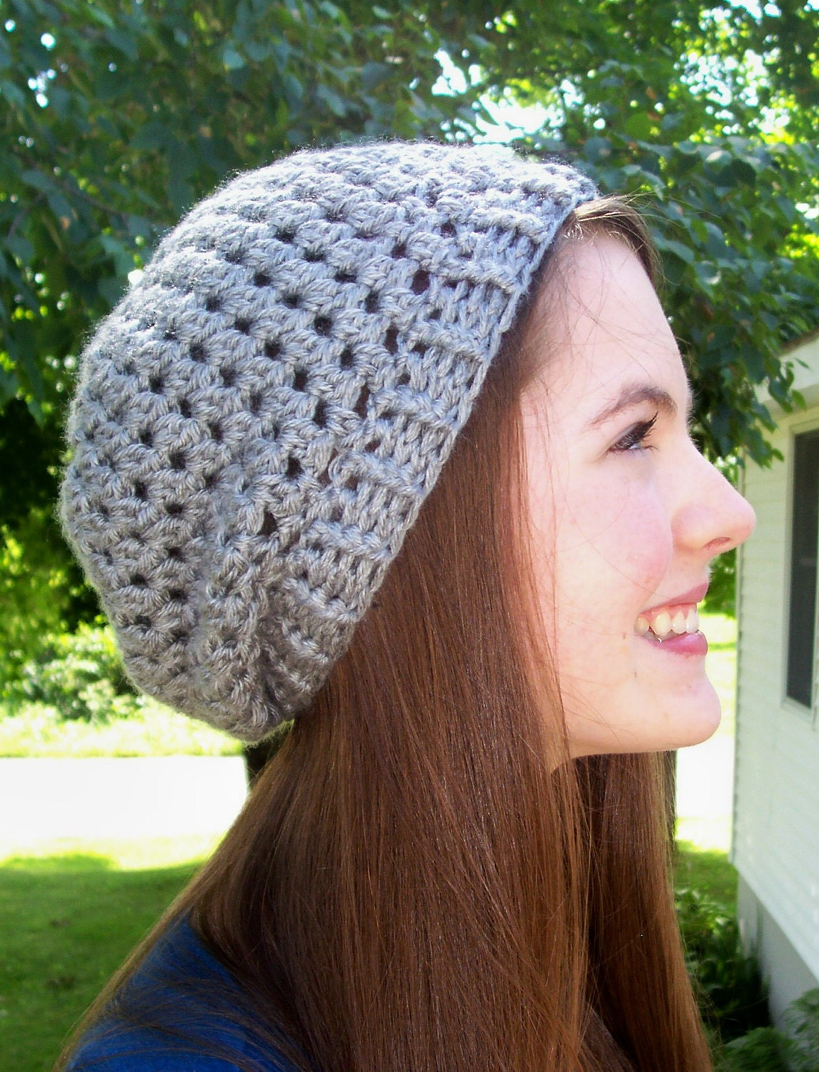Crochet Stitches For Beanies : Slight Slouch Hat PDF Crochet Pattern Adult by RusticThreads