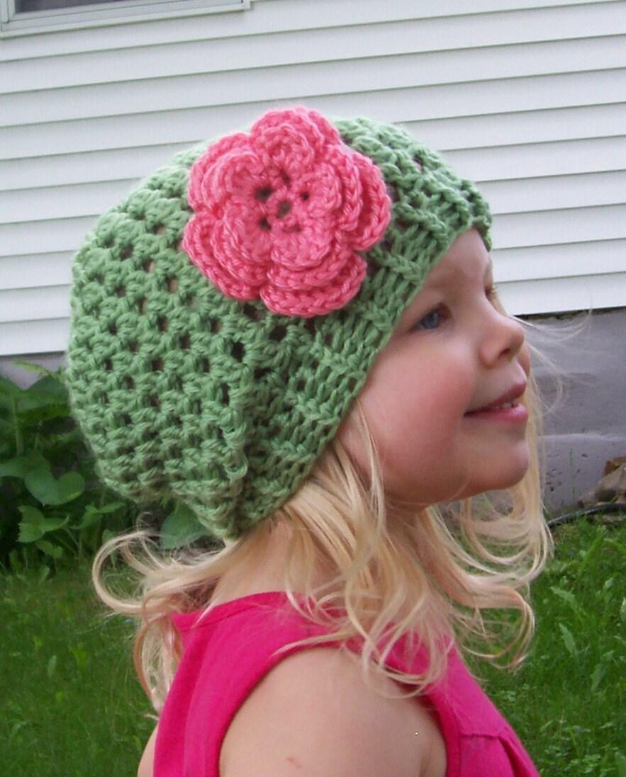 Crochet Slouch Hat: Girls Slight Slouch Hat PDF Crochet Pattern 3 By RusticThreads
