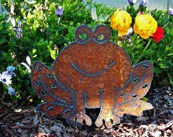 Smiling Frog Hand Cut Plasma Metal Garden Art Metal Yard Art