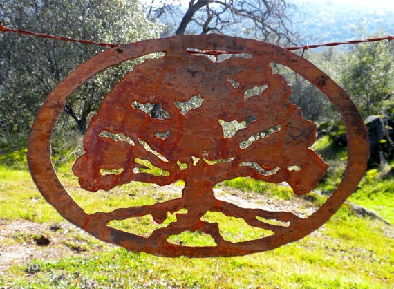 oak tree rusty metal wall art by foothillmetalart on etsy