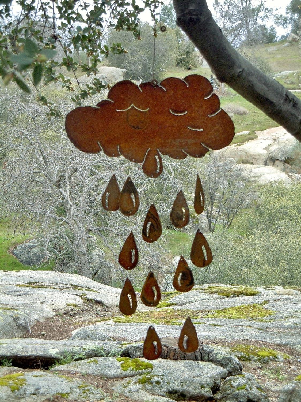 april showers cloud raindrop rusty metal wind chime. Black Bedroom Furniture Sets. Home Design Ideas