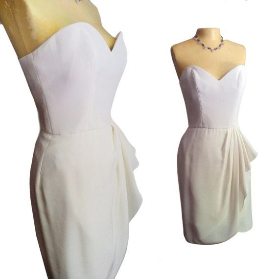 Vintage White and Ivory Strapless Bridal Mini Dress in Rich Crepe / Georgette Silk, Formal, Size 8