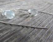 Drops of water earrings - sterling silver metalwork with freeform drop of clear lampwork glass dangles