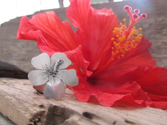 RESERVED Hibiscus Ring - artisan hand crafted sterling silver metalwork flower ring, made to order in your size