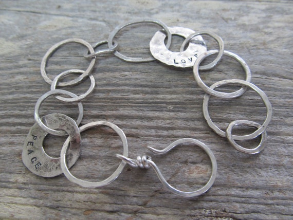 RESERVED for deposit- Links of Love and Peace bracelet - unique hand forged, hand stamped, sterling silver metalwork links