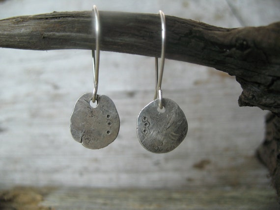 Hold for FB - Rustic Hammered Disc earrings - recycled sterling silver hand forged into unique metalwork