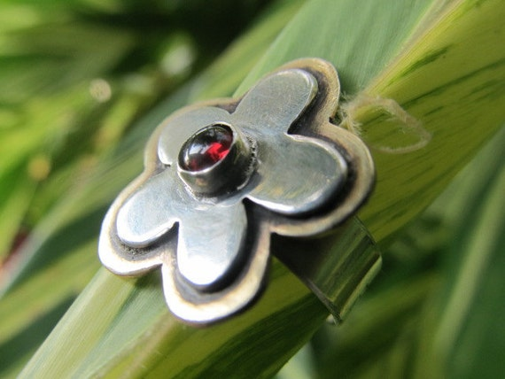 RESERVED for FB - Bloom where you are planted - handmade sterling silver and brass metalwork flower ring