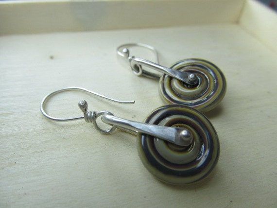 RESERVED - Spinning Glass Raku disc earrings in pretty autumn colors on sterling silver metalwork