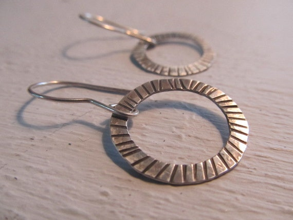 Sterling silver earrings - hand forged and hand textured dangling hoop, artisan metalsmith earrings, hand fabricated, made to order