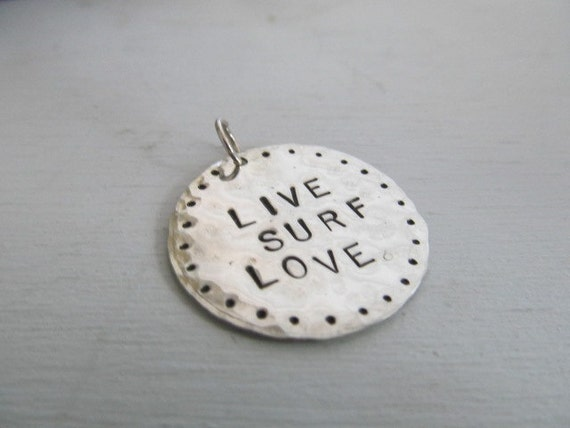 Surf jewelry LIVE, SURF, LOVE Hand stamped surfer pendant necklace in sterling silver