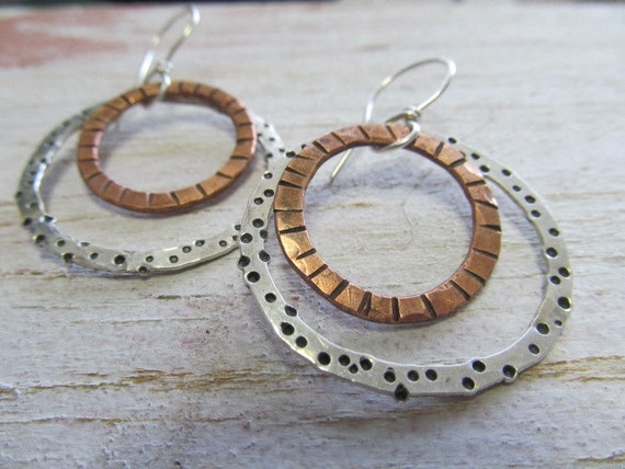 Mixed metal artisan double hoop earrings - hand crafted one of a kind metalwork in sterling silver and copper