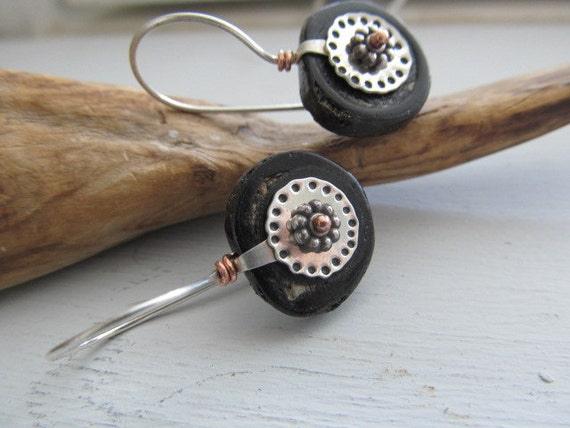 Black Bamboo Coral and sterling silver, and copper original metalwork earrings