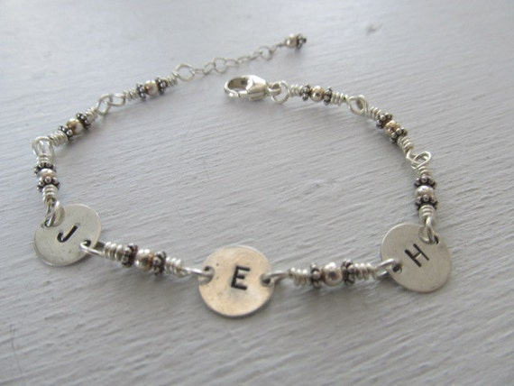 Personalized 3 initial hand stamped handmade sterling silver bracelet, initials, mothers bracelet, your stone color choice