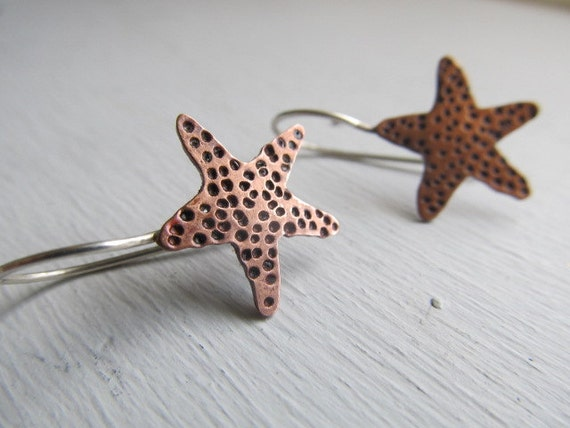Reserved for sg - Hand cut copper Starfish - copper starfish made one at a time on hand forged sterling silver ear wires