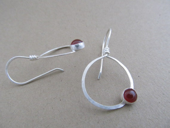 RESERVED for E- Hand forged Hoops with a bezel set 6mm stone -Carnelian or turquoise or black pyrite- sterling silver handmade earrings
