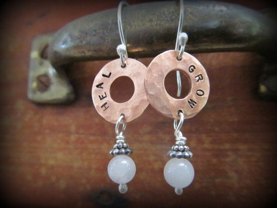 RESERVED for Fishboy -copper and sterling earrings - you design, your chosen inspirtaional word, your choice of stone color