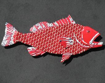 Metal Fish Wall Art - Budweiser Bottlecap Fish Grouper