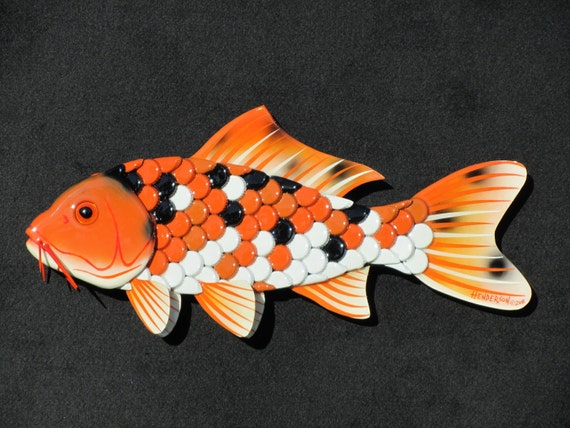 Koi fish wall art bottle cap fish for Koi carp wall art