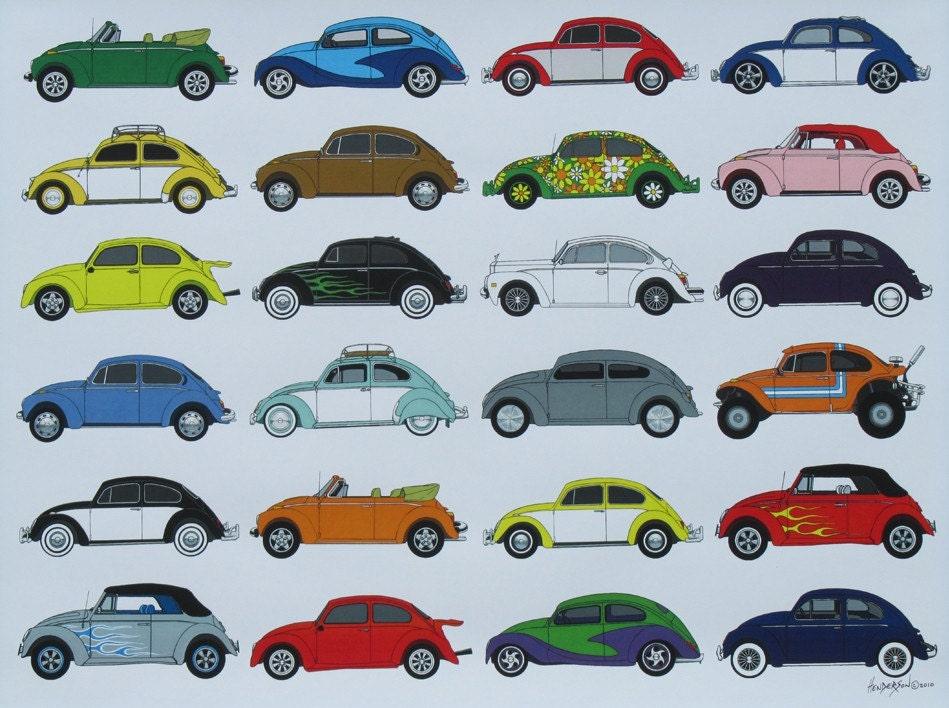 Volkswagon Bug Beetle Poster Vw Cars Poster