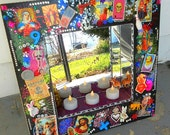 MOVING SALE Large Kitsch Framed Mirror Collage Art with Glitter Jesus Mary Rhinestones Toys and More Votive Candle Holder