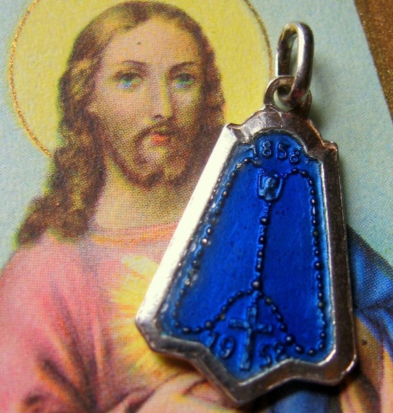Vintage Mary Miraculous Blue Pendant SILVER Our Lady of lourdes