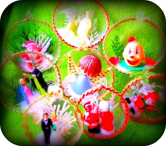 Set of Nine Vintage Hand Made Plastic Christmas Decorations Nativity Skating Girl Clown Wedding Angel