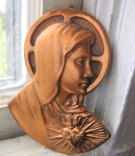 Vintage Copper Metal Virgin Mary Madonna Immaculate Heart Wall Hanging