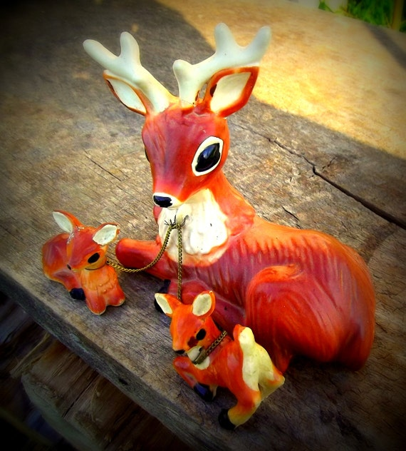Vintage Japanese Made Ceramic Deer and Baby Fawns Chained Figurine Statue Forest Animal
