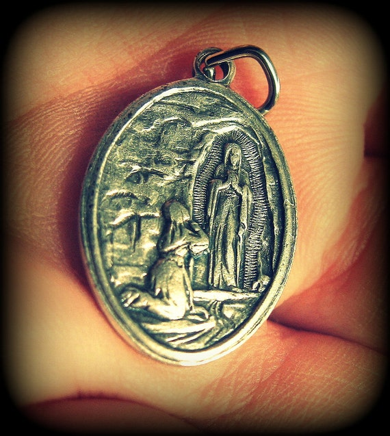 Reversible Vintage Silver Oval Virgin Mary of Lourdes Pendant with Fabric Relic